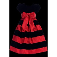 Red & Black Velvet Girls Flocked Taffeta Christmas Dress w. Red Bow 3M-10