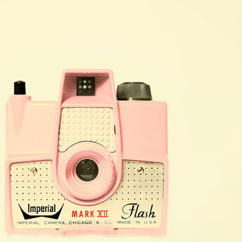 Vintage camera PHOTO, pink camera, mid century modern, hipster, camera love, pale pink, film - Think Pink 8x8 PRINT