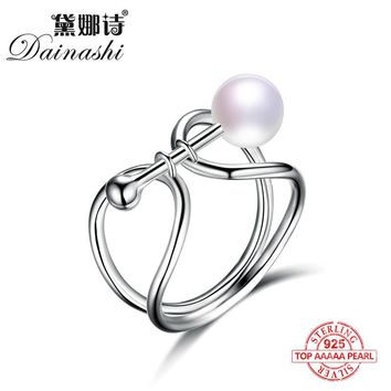Dainashi unique shape like lock and bow tie 925 sterling silver natural real top quality pearl rings fine jewelry for gifts