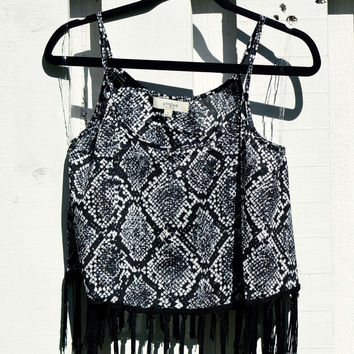 Snake Print Fringe Crop Top