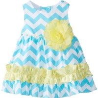 Rare Editions Baby Baby-Girls Newborn Chevron Printed Woven Dress, Turquoise/White, 6 Months