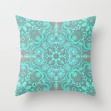 Mint Green & Grey Folk Art Pattern Throw Pillow by Micklyn