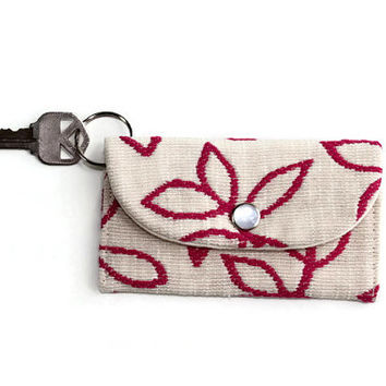 White Keychain ID Wallet with Magenta Flowers, Student ID Holder, Keychain Cardholder, Dorm Key Ring, White Wallet with Free Shipping