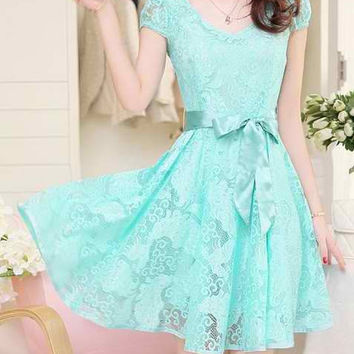 Blue V-Neck Short Sleeve Lace Dress