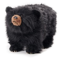 Shadow Shaggy Black Bear Footstool