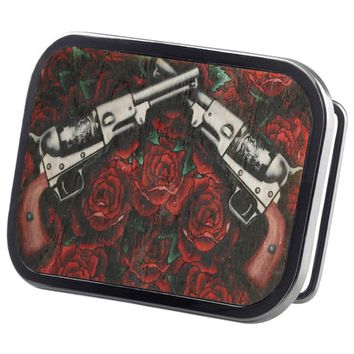 Pistols & Roses Wood Belt Buckle
