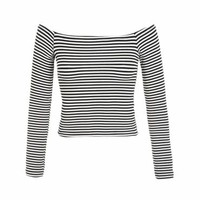 OFF THE SHOULDER LONG SLEEVE STRIPE TOP - Ally Fashion