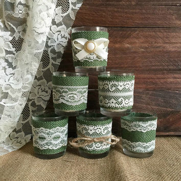 6 Hunter green burlap and ivory lace coveret votice tea candles, wedding, bridal shower table decoration
