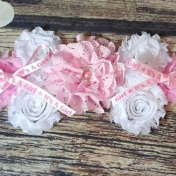 Pink Its a Girl Maternity Sash / Pink and White