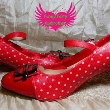 Buckle my shoe customised red polka dot low heel shoes