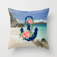 Anchors Away Throw Pillow by Bri Delasole | Society6