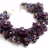 Pearl Beaded Bracelet With Flowers  Blackcurrant by KIMMSMITH