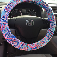 Steering Wheel Cover made with Lilly Pulitzer Multi Shell Me About It Fabric - Summer 2015