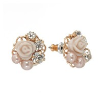 LC Lauren Conrad Flower Stud Earrings (White)