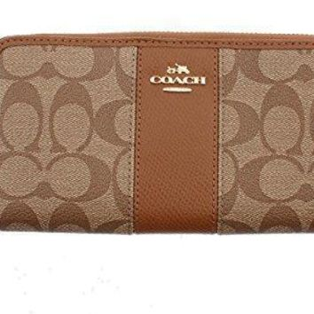 Coach Women's Wallet Signature Pvc & Leather Zip Around F52859