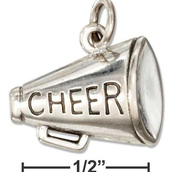 "Sterling Silver Megaphone Charm With ""cheer"" Message"