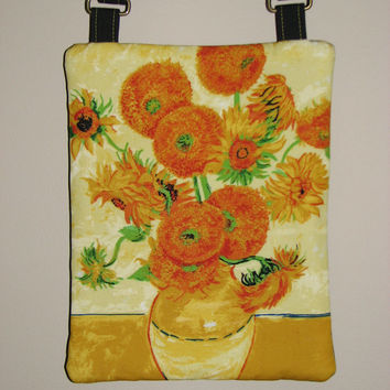 "Quilted Cross Body Purse , Small Shoulder Bag , Vincent Van Gogh ""Vase With Fifteen Sunflowers"""