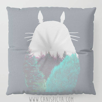 Totoro Forest Kawaii My Neighbor Floor Pillow Round Square Cushion Anime Decorative Grey Graphic Print Anime Home Decor Ghibli Fan Cute Pouf