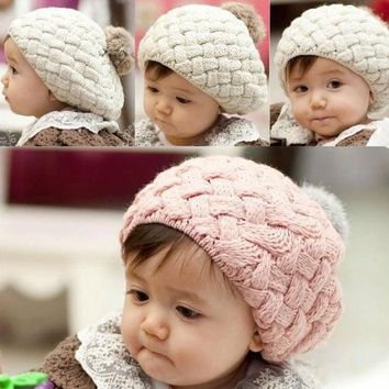 ONETOW Cute Baby Infant Girls Toddler Winter Warm Knitted Crochet Hat Cap Beanie 7_S = 1917003268