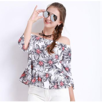 Floral Off the Shoulder Ruffle Blouse