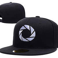 HAIHONG Portal 2 Aperture 80's Logo Adjustable Snapback Caps Embroidery Hats - Black