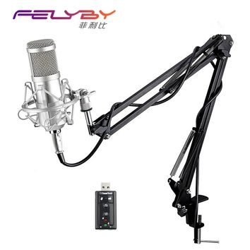 Professional bm 800 Condenser Microphone for computer Cardioid Audio Studio Vocal Recording Mic KTV Karaoke + Microphone stand
