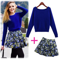 Blue Sweater Cropped Top with Floral Print Skirt