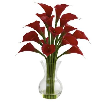 Artificial Flowers -Red Galla Calla Lily With Vase Silk Flowers