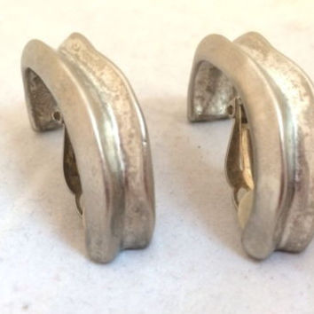 Givenchy Paris Brushed Silver Hoop Clip on Earrings Vintage Jewelry