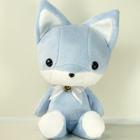 "Cute Bellzi Blue w/ White Contrast Fox Plushie Doll  11"" - Foxi"