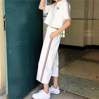 """Adidas"" Women Loose Casual Multicolor Stripe Short Sleeve Wide Leg Pants Trousers Set Two-Piece Sportswear"