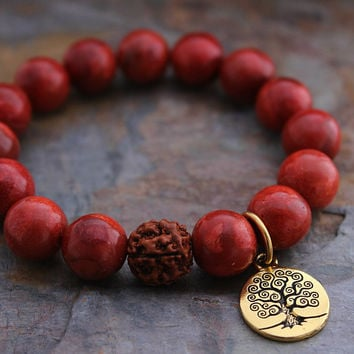 Black Friday Sale! Red Sponge Coral Bracelet w/ Tree of Life, Red Rudraksha Boho Bracelet, Bohemian, Spiritual Jewelry, Spiritual Bracelet