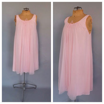 Vintage Retro 1960s Lisette Pink Teddy Semi Sheer Lingerie Twiggy Dress Sexy Mod Nightgown Small Medium Babydoll Short Nightie