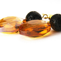Big Gold Honey Crystal Earrings - Rough Black Lava Stone Bead