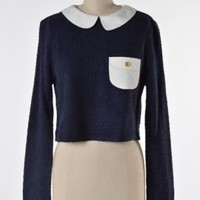 Quirky Preppy Me Contrast Collar Long Sleeve Crop Top by Comme Toi | Sincerely Sweet Boutique