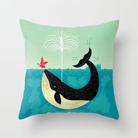 The Bird and The Whale Throw Pillow by Oliver Lake