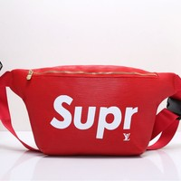 """Louis Vutitton×Supreme"" Unisex Casual Fashion Letter Logo Print Chest Bag Messenger Bag Waist Bag"