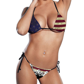 Women American Flag Skull Printed Beachwear Bra Set Swimsuit Swimwear Two-piece Bikinis Sets Multicolor