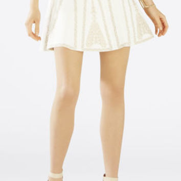 White BCBG Bronwyn Embroidered Fit-and-Flare Skirt
