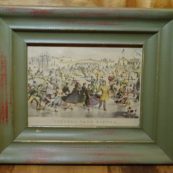 Currier and Ives Lithograph Print Central Park Winter The Skating Pond Ice Skating