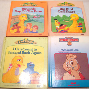 Set of Four, Childrens, Books, Sesame Street, Big Bird, Teddy Ruxpin, Kids, Story, Magic, Bedtime, Grandmas House, Learning, Hardcover, Gift