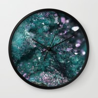 Geode Abstract Aqua Fascination Wall Clock by Lisa Argyropoulos