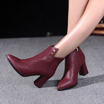 CREYONV studded ankle boots high heels shoes woman  number 1