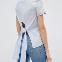 New Look Stripe Knot Back Top at asos.com