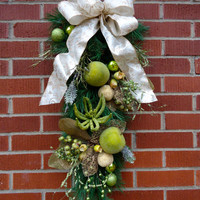 """Christmas Swag - """"Welcome Wishes"""" Pine Swag, Christmas Door Swag, Winter Door Swag, Christmas Wall Swag, Winter Floral Swag, Christmas Decor"""