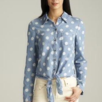 Seven7 Polka Dot Tie Front Button Down Denim Shirt | Overstock.com