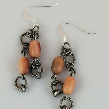 Peach Aventurine Beaded Earrings with Antique Sterling Plated Rings on Sterling Silver Ear Wires -- Product E094