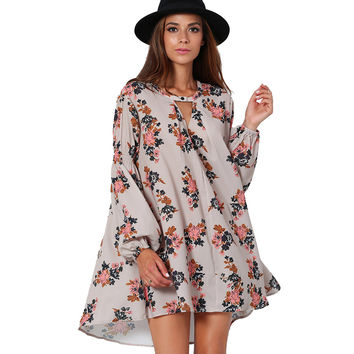 Pink Long Sleeve A-Line Floral Print Mini Dress