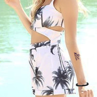 White Coconut Tree Print Cut-Out Romper