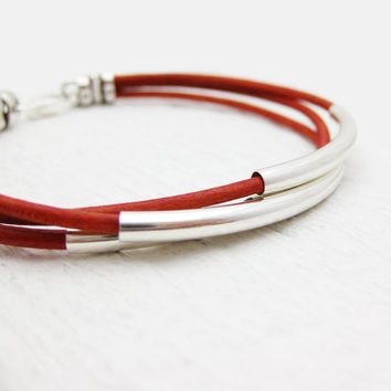 Red Leather Bangle Bracelet with Solid Sterling Silver by byjodi